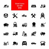 Icon Set Of Mode Of Transport. Vehicle, Public And Industrial Transport, Logistics. Transportation C poster