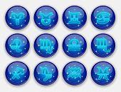 Horoscope Set: Leo, Virgo, Scorpio, Libra, Aquarius, Sagitarius, Pisces, Capricorn, Taurus, Aries, G poster