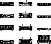 Audio Equipment For Audio Experience. Silhouette Vector poster