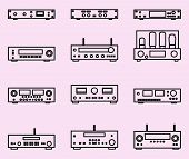 Audio Equipment For Audio Experience. Vector Thin Line poster