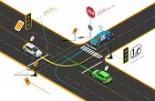 Driving School Isometric Composition With Conceptual Pictograms Colourful Arrows Text Captions And C poster