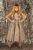 Look, Hairdresser, Makeup. Child Girl In Stylish Glamour Dress, Elegance. Fashion And Beauty, Little poster