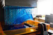 3d Printing Process. Modern 3d Print Technology. Working 3d Printer Machine Printing A Detail. Close poster