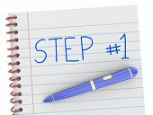 Step 1 First Beginning Action Notebook Pen Words 3d Render Illustration poster