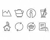 Set Of Line Chart, Tea Mug And Full Rotation Icons. Milk Jug, Refresh Cart And Document Signs. Finan poster