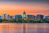Madison, Wisconsin, USA downtown skyline at dusk on Lake Monona. poster