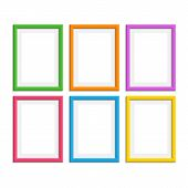 Set Of Colorful Wooden Frames. Wooden Picture Frame In Flat Style. Abstract Coloured Framework Isola poster