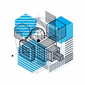 Isometric Abstract Background With Lines And Other Different Elements, Vector Abstract Template. Com poster