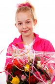 Young Blonde Girl With Colorful Bouquet Of Roses For Mothers Day