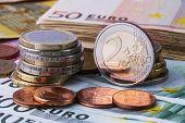 Euro Coins. Euro Money. Euro Cash Background. Euro Money Banknotes. poster