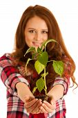 Attractive Beautiful Young Woman Holds Seedling Isolated Over White Background poster
