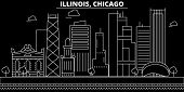 Chicago Silhouette Skyline. Usa - Chicago Vector City, American Linear Architecture, Buildings. Chic poster