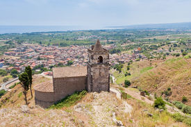 pic of calatabiano  - medieval chapel and view on seacoast in Sicily - JPG