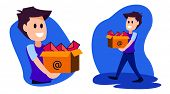 Illustration Of Person Carrying An Email Box. Email Marketing Inbox. Vector Eps 10 poster