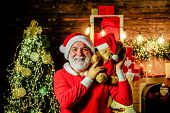 Happy New Year. Bearded Man In Santa Claus Costume. Christmas Decoration. Christmas Holidays. Merry  poster