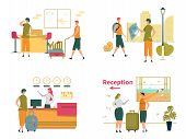 Travelers Or Tourists People Cartoon Characters With Luggage In Airport, Hotel Reception And On City poster