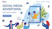 Social Media Marketing Landing Page Flat Template. User Generated Content, Influencer Advertising. S poster