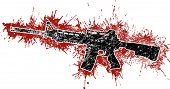 pic of ar-15  - Grungy Assault Rifle with Blood Stains in Red - JPG