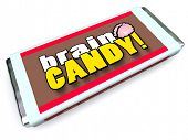 A candy bar with the words Brain Candy on the package wrapper to symbolize brainstorming, ideas, tho