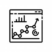 Black Line Icon For Seo-performance Performance Planning Ranking Relevance Seo Strategy poster