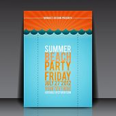 Summer Beach Party Flyer Vector Template - EPS10 Design