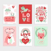 Valentines Day Card. Love Pink Design With Heart, Cute Bird And Happy Rabbits, Cat And Romantic Lett poster
