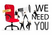 Hiring Office Chair. Hiring Advertising With People Wanted Employees Creative Concept For Business C poster