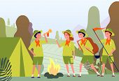 Camping Scouts. Campfire In Forest And Happy Kids In Uniform Sitting Outdoor Vector Adventure Flat C poster