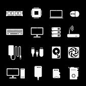 Computer Components Icons. Hardware Processor And Cpu, Ram And Hardware, Silhouettes Set poster