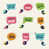 Early Bird. Special Offers Badges Discounts Labels With Birds Vector Advertising Signs Collection. O poster