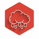 White Line Cloud With Rain Icon Isolated With Long Shadow. Rain Cloud Precipitation With Rain Drops. poster