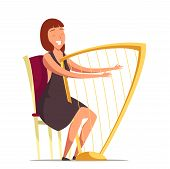 Smiling Harpist Flat Vector Illustration. Orchestra Performer With Harp Cartoon Character. Woman Pla poster