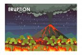 Eruption Process Flat Vector Illustration. Lava-spewing Volcano And Burning Forest. Natural Disaster poster