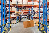 Industrial Stock Storage Products Storage System By Drone Unmanned Aircraft.distribution Through The poster