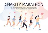 Charity Marathon Poster Design Concept. People Run A Marathon For Charity. poster