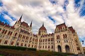 Classic Wide-angle View Medieval Building Of Parliament In Budapest. It Is One Of Europe's Oldest Le poster