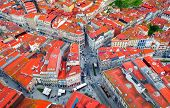 Crossroads Or Road Junction In A European City, Red Roofs Top View, Portuguese Houses And Architectu poster