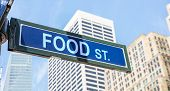 Food Street Sign, Street Food Concept, Blue Sky And Skyscrapers Background poster