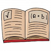 Notebook With Formulas. Vector Illustration Open Textbook, A Book With Mathematical Formulas. Hand D poster