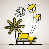 Vector Illustration of Malay Attap House with Flying Moon Kite Translation of Jawi Text: Eid Mubarak