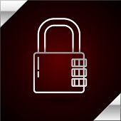 Silver Line Safe Combination Lock Icon Isolated On Dark Red Background. Combination Padlock. Securit poster
