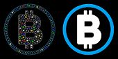 Glowing Mesh Bitcoin Rounded Icon With Glow Effect. Abstract Illuminated Model Of Bitcoin Rounded. S poster