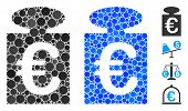 Euro Weight Mosaic Of Round Dots In Different Sizes And Color Tints, Based On Euro Weight Icon. Vect poster