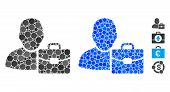 Accounting Mosaic Of Round Dots In Various Sizes And Shades, Based On Accounting Icon. Vector Round  poster