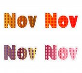 November Word. Hand Lettering Typography With Autumn Leaves. Vector Illustration As Poster, Postcard poster