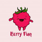 Kawaii Strawberry Cartoon With Text Berry Fun Vector Illustration, Cute Summer Berry Smiling For Log poster