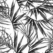Tropical Seamless Pattern. Watercolor Chaotic Palm Leaves, Japanese Bamboo. Black And White Exotic S poster