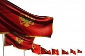 Wonderful Holiday Flag 3d Illustration  - Many Montenegro Flags Placed Diagonal Isolated On White Wi poster