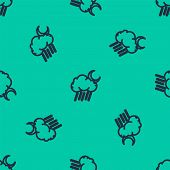 Blue Line Cloud With Rain And Moon Icon Isolated Seamless Pattern On Green Background. Rain Cloud Pr poster
