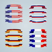Flag Ribbon Of America Usa France Germany Russia Set Collection Of Bright Curved Flat Banner Ribbons poster